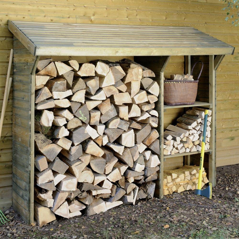 Abri bûches bois traité Split 2 étagères 1,5 stères