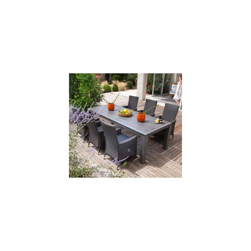 Salon de jardin : table Fiero 240 cm gris anthracite + 6 fauteuils portland  pump gris