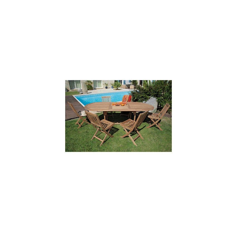 Salon de jardin : table ovale Hampton 160/220 cm bois + 6 chaises Vittel