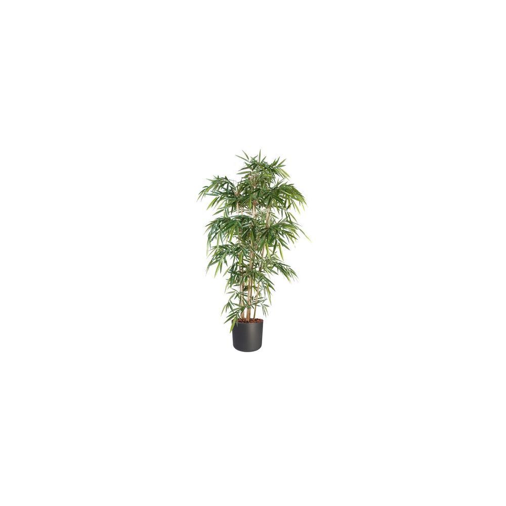 Bambou 6 chaumes H120cm (chaumes naturels, feuillage artificiel) avec pot Elho anthracite