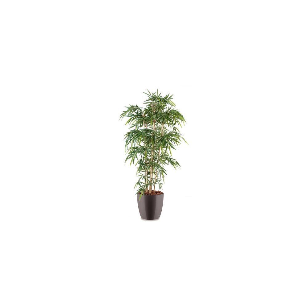 Bambou 6 chaumes H180cm (chaumes naturels, feuillage artificiel) avec pot Elho gris