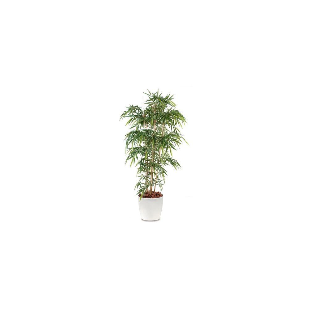 Bambou 6 chaumes H180cm (chaumes naturels, feuillage artificiel) avec pot Elho blanc
