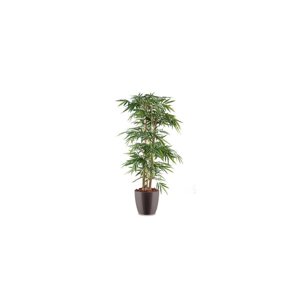 Bambou grosses cannes H150 cm (cannes naturelles, feuillage artificiel) pot Elho gris