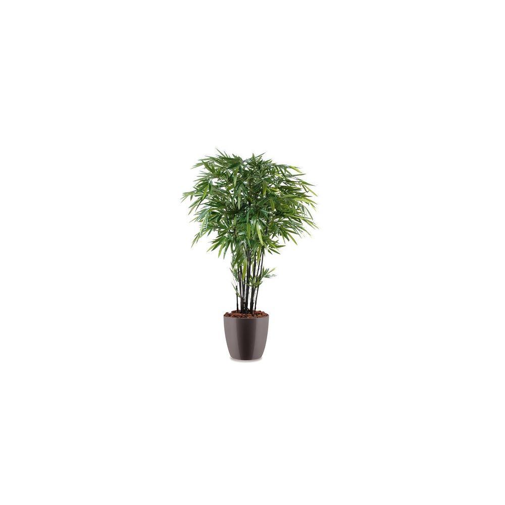 Bambou à cannes noires H210cm (chaumes naturels, feuillage artificiel) pot Elho gris