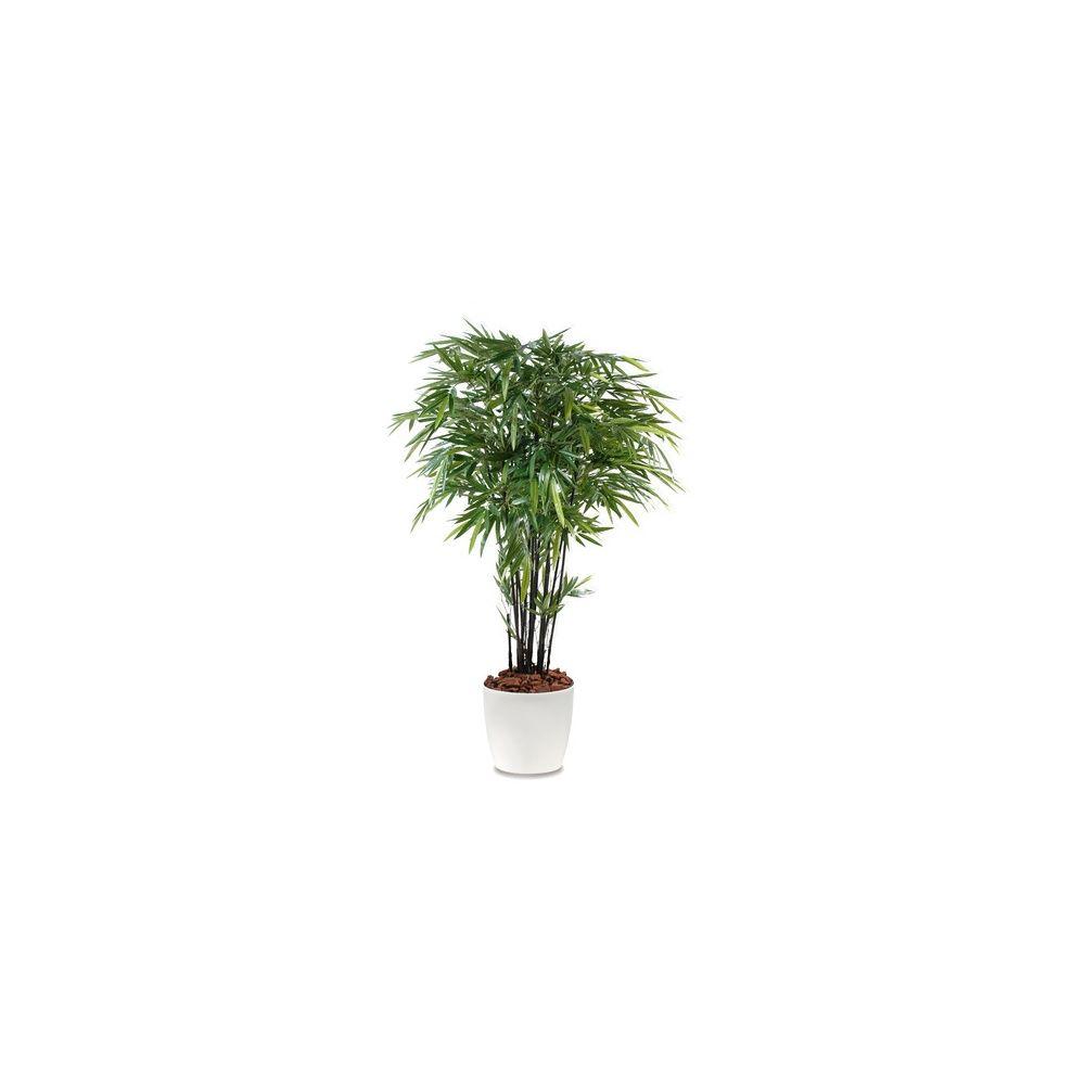 Bambou à cannes noires H210cm (chaumes naturels, feuillage artificiel) pot Elho blanc