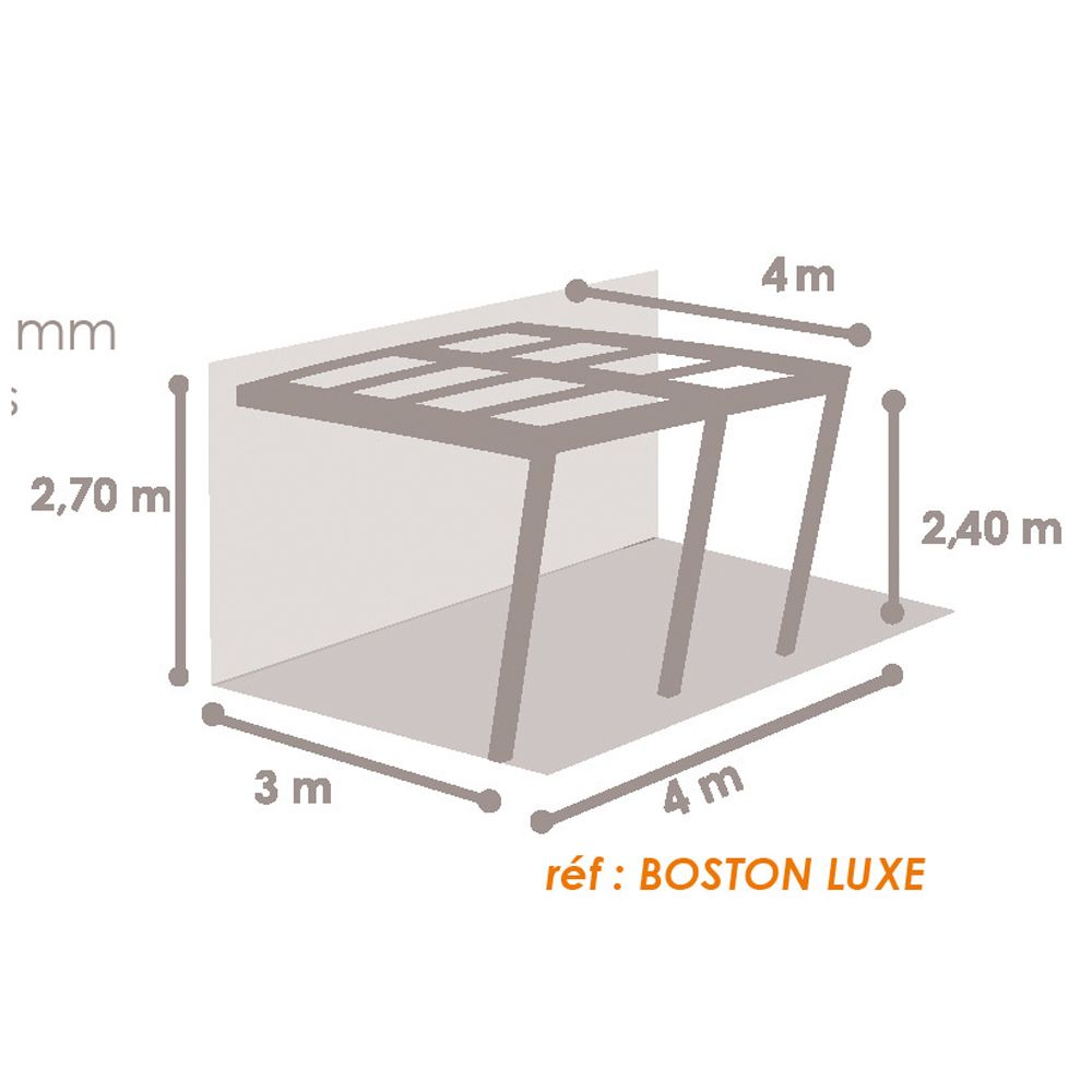 Tonnelle Adossée Aluminium 4x4 M Stores Enroulables Boston Luxe