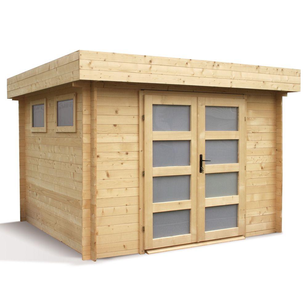 Plan Abri De Jardin En Bois abri de jardin bois toit plat kivik 9.53 m² ep. 28 mm