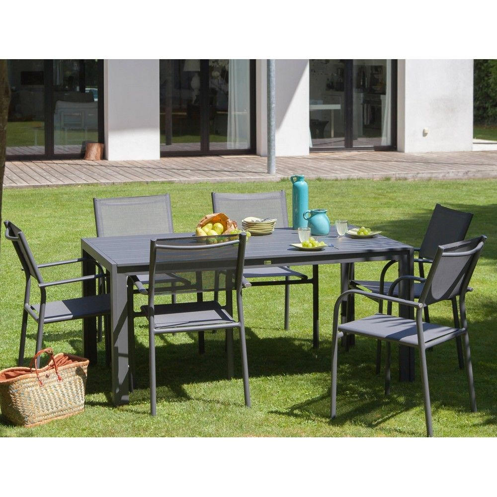 Table de jardin aluminium l160 L90 cm gris