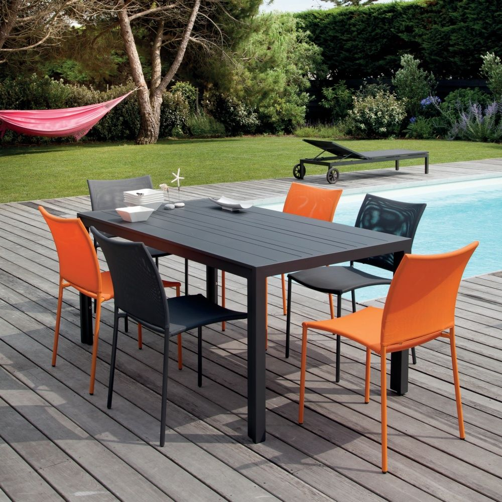 Salon de jardin Globe : Table aluminium + 6 chaises gris/orange