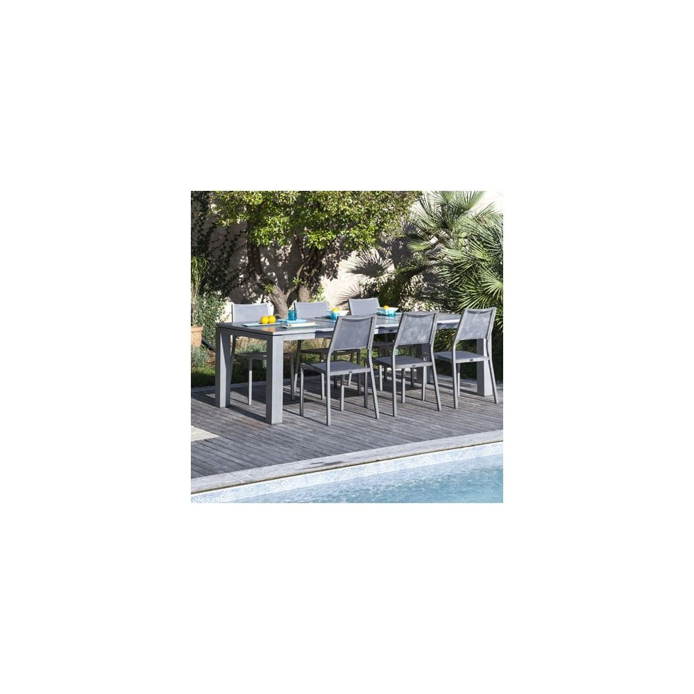 Salon de jardin : Table Fiero l180/240 L103 cm + 6 chaises Florence