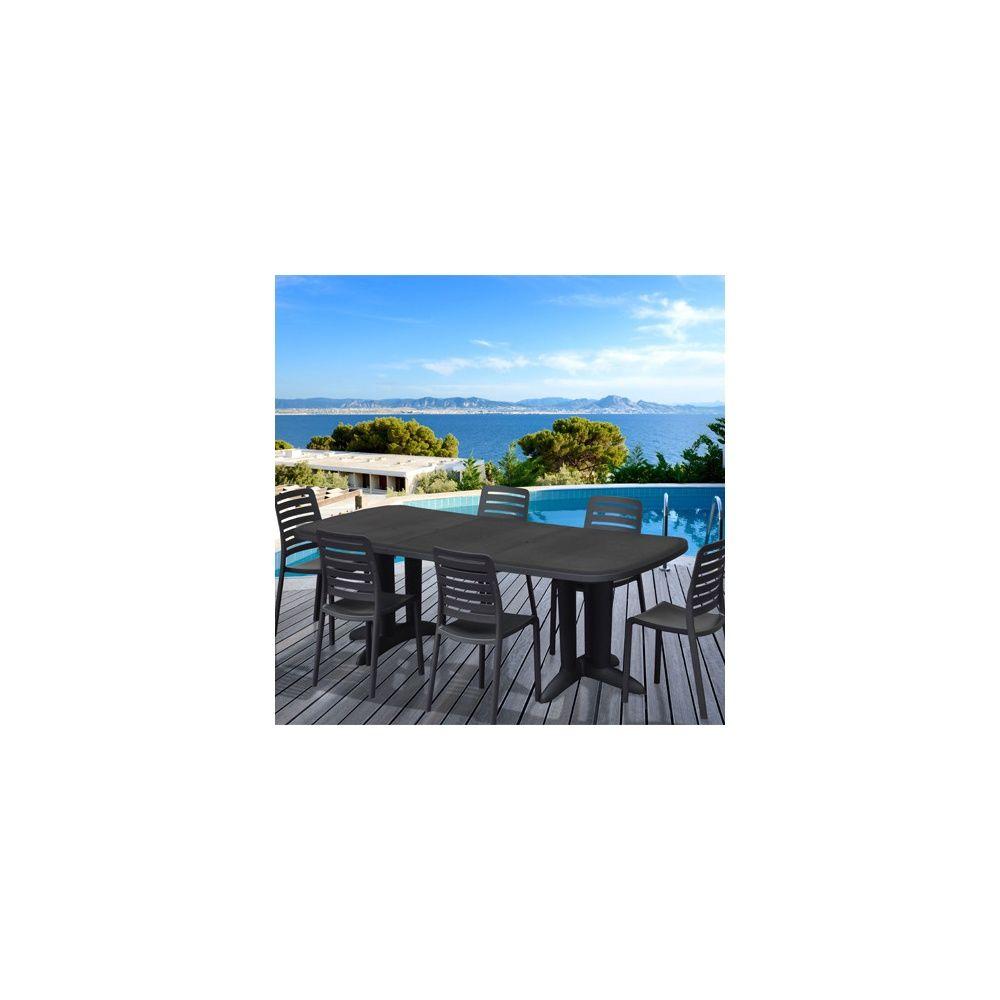 Salon de jardin : Table 180/250 cm + 6 chaises empilables Charlotte