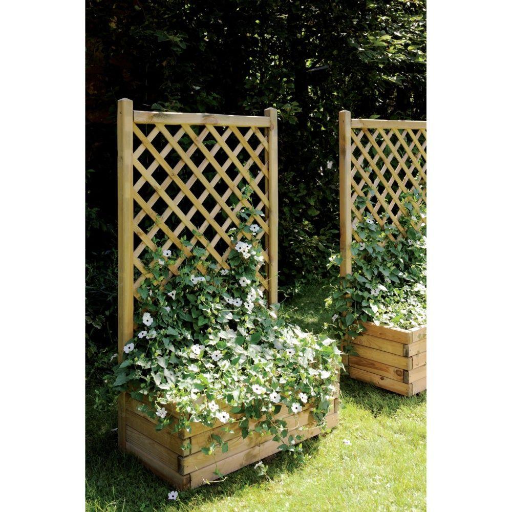 Claustra Treillis Exterieur Bois bac à fleurs avec treillis bois traité autoclave l80 h135.5 cm lierre