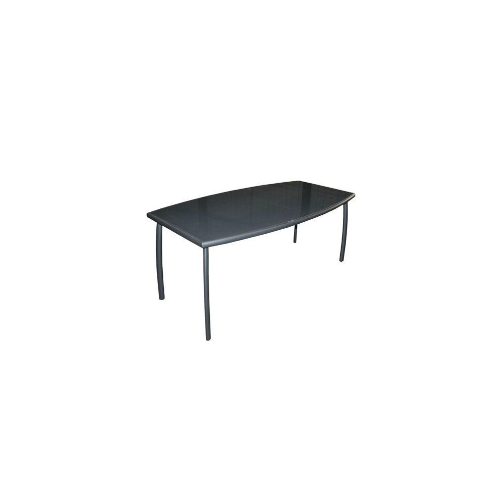 Table de jardin Linea aluminium/plateau verre l200 L105 cm gris