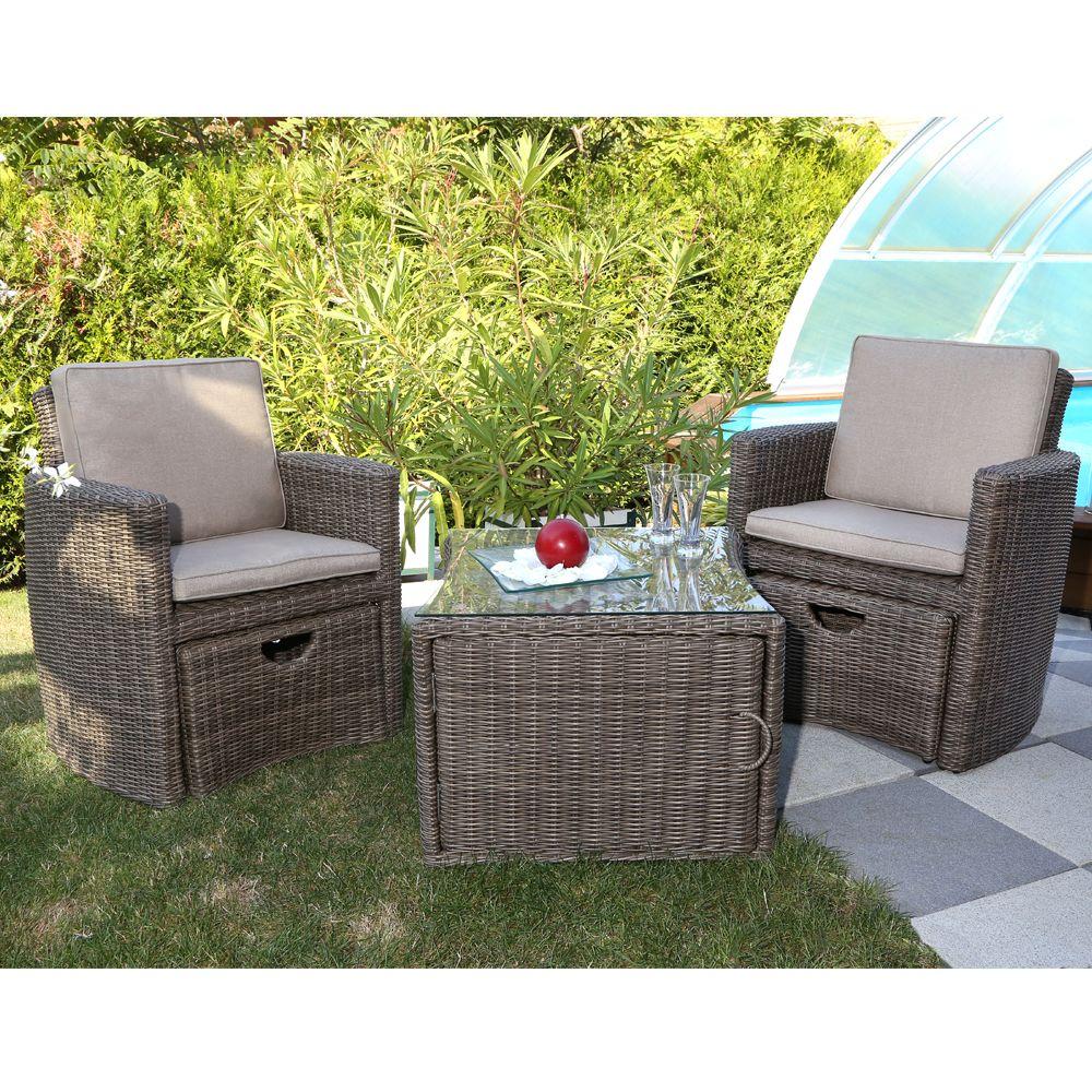 Salon de jardin résine Cupido brun : 2 fauteuils + table
