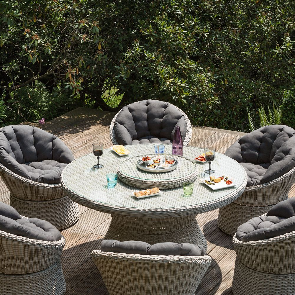 Salon de jardin résine Kettler Barcelona : 6 fauteuils + 1 table ...