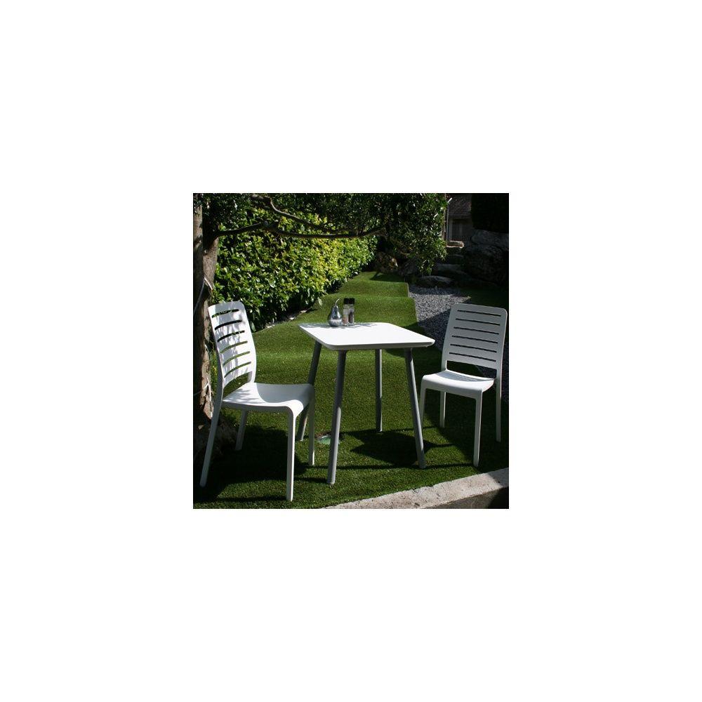 Salon de jardin 2 personnes : Guéridon Julien 70 x 70 cm et 2 chaises  Country - Blanc