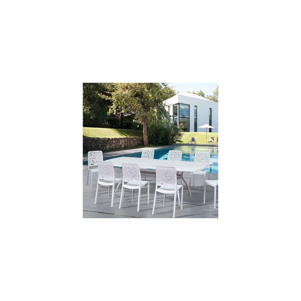 Salon de jardin Floris 8 personnes : Table + 8 chaises Charlotte City -  Blanc