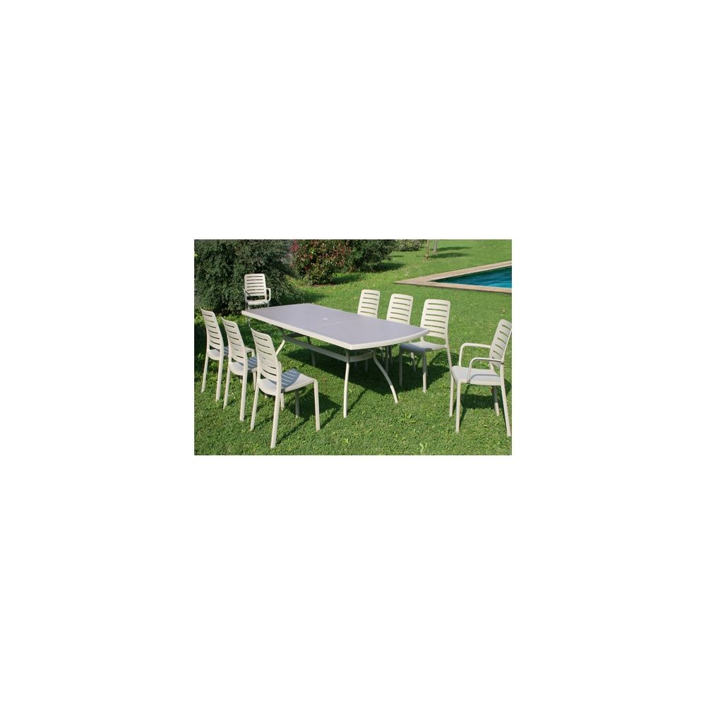 Salon de jardin Floris 8 personnes : Table + 6 chaises + 2 fauteuils -  Cappuccino