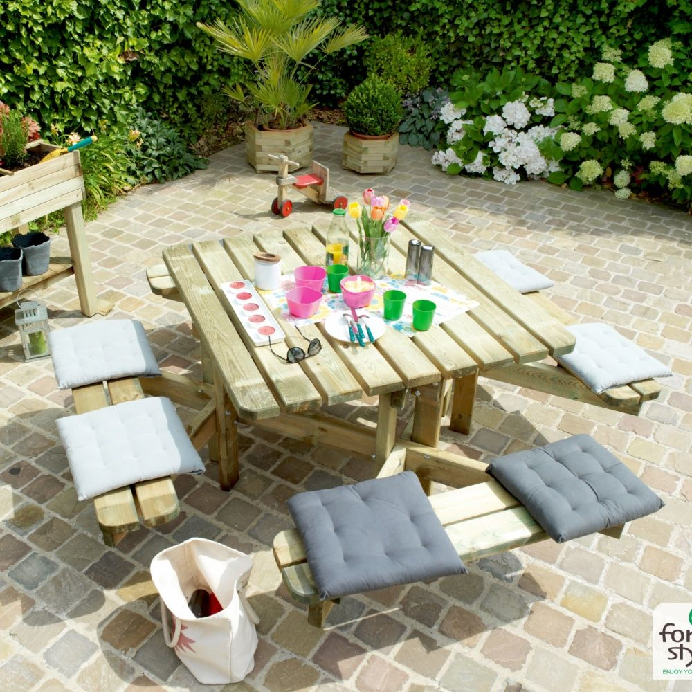 Table de pique-nique Octave bois traité L120 x l120 cm