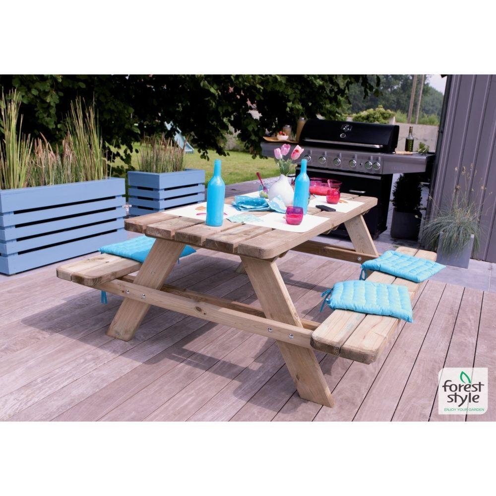 Table de pique-nique Matisse bois traité L9 l9 cm