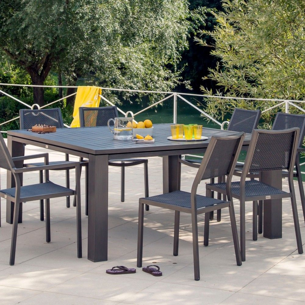Table de jardin Fiero aluminium l160 L160 cm brun