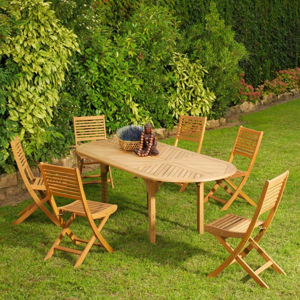 Salon de jardin Teck : table Durban l160/220 L100 cm + 6 chaises Saturne