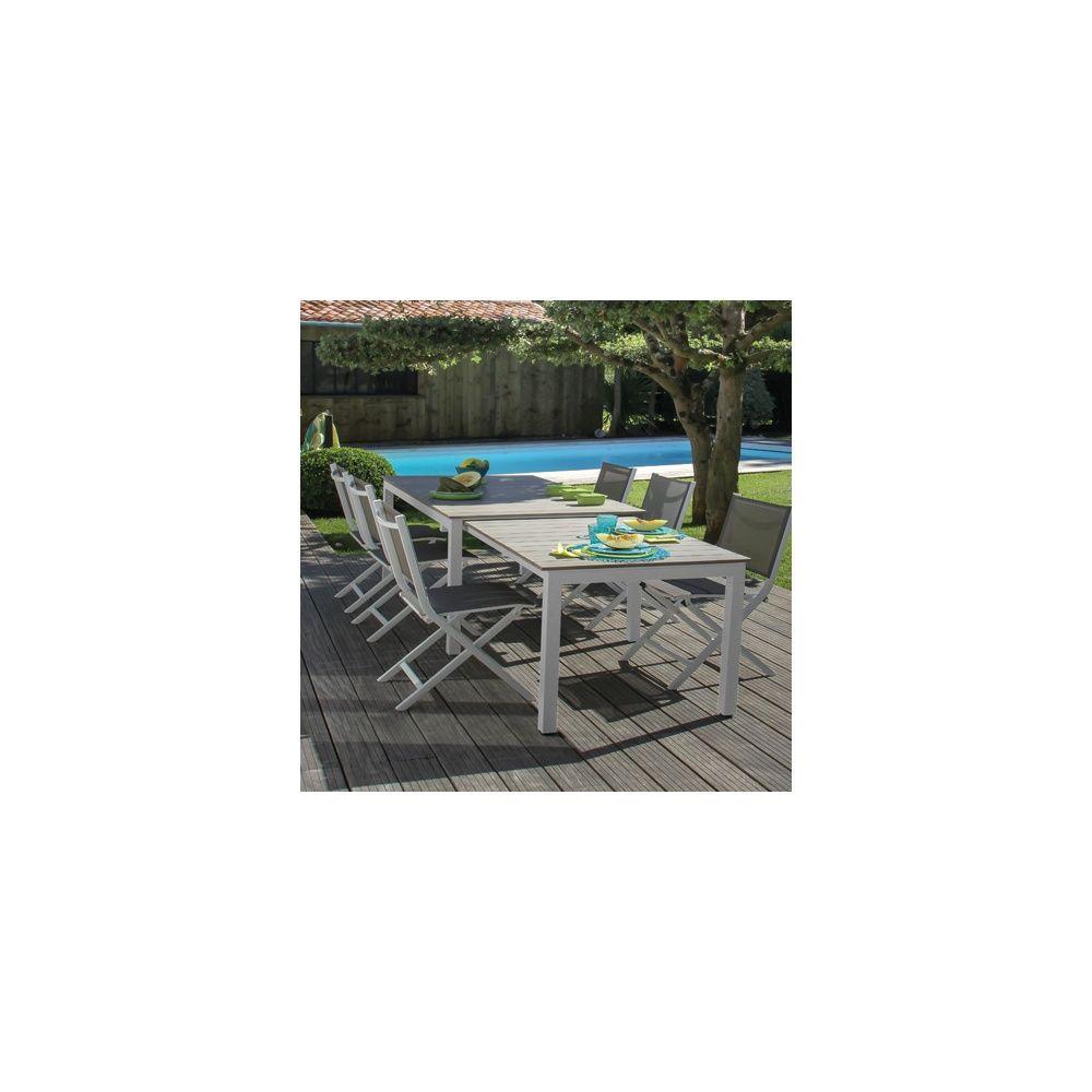 Table de jardin Thema à allonge aluminium l170/290 L90 cm blanc ...