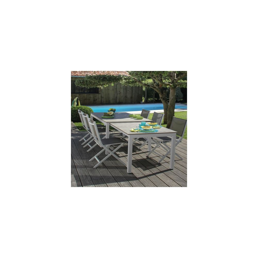 Salon de jardin Thema : Table + 6 chaises pliantes aluminium blanc/taupe
