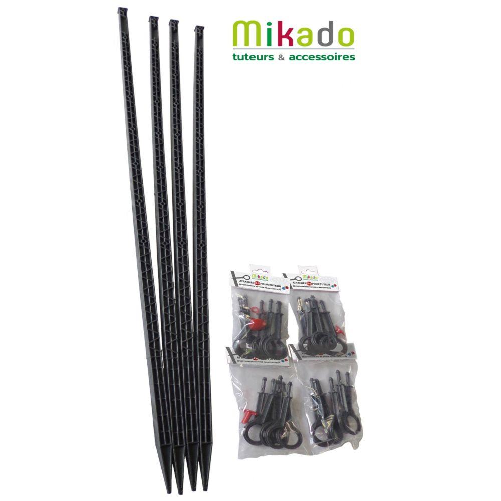 Pack 4 tuteurs avec attaches 150 cm anthracite Mikado - MV Industrie