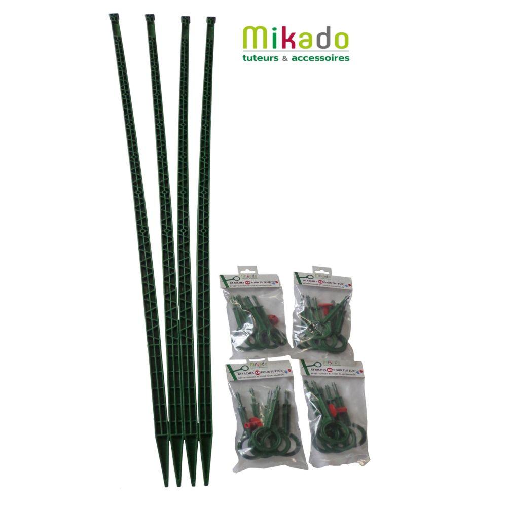 Pack 4 tuteurs avec attaches 150 cm vert Mikado - MV Industrie