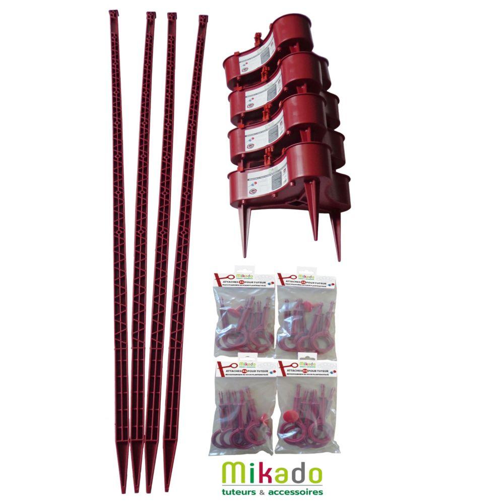 Pack 4 tuteurs avec réservoirs 150 cm cerise Mikado - MV Industrie