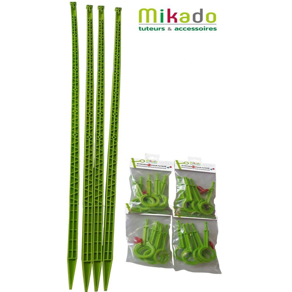 Pack 4 tuteurs avec attaches 150 cm anis Mikado - MV Industrie