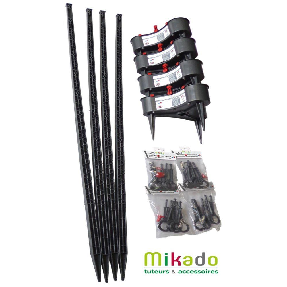 Pack 4 tuteurs avec réservoirs 150 cm anthracite Mikado - MV Industrie