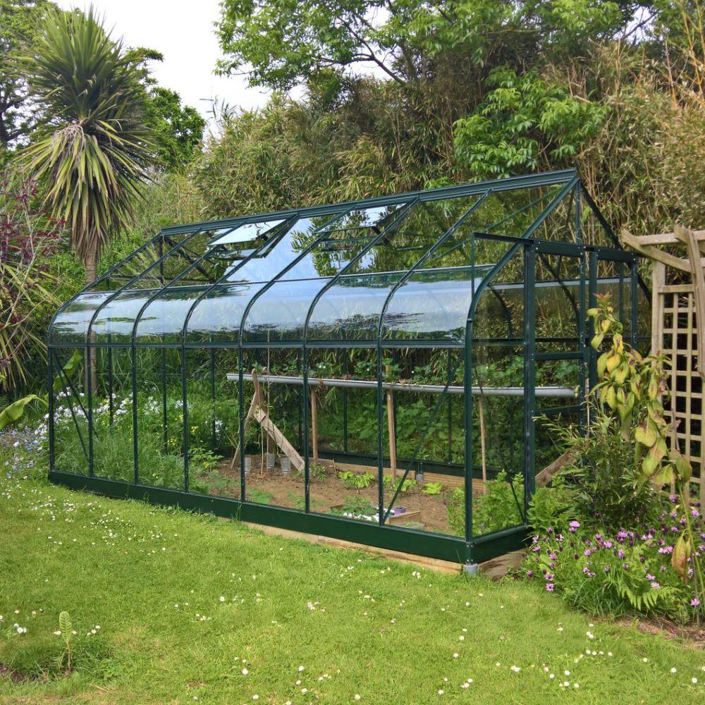 Serre de jardin - Serre en verre trempé Supreme vert 11.4 m² + embase - Halls - Serre de jardin GammVert