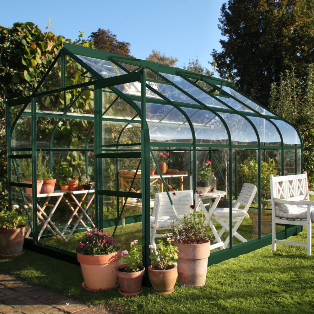Serre de jardin Supreme verre trempé 8.1 m² + embase - Halls Palette ...