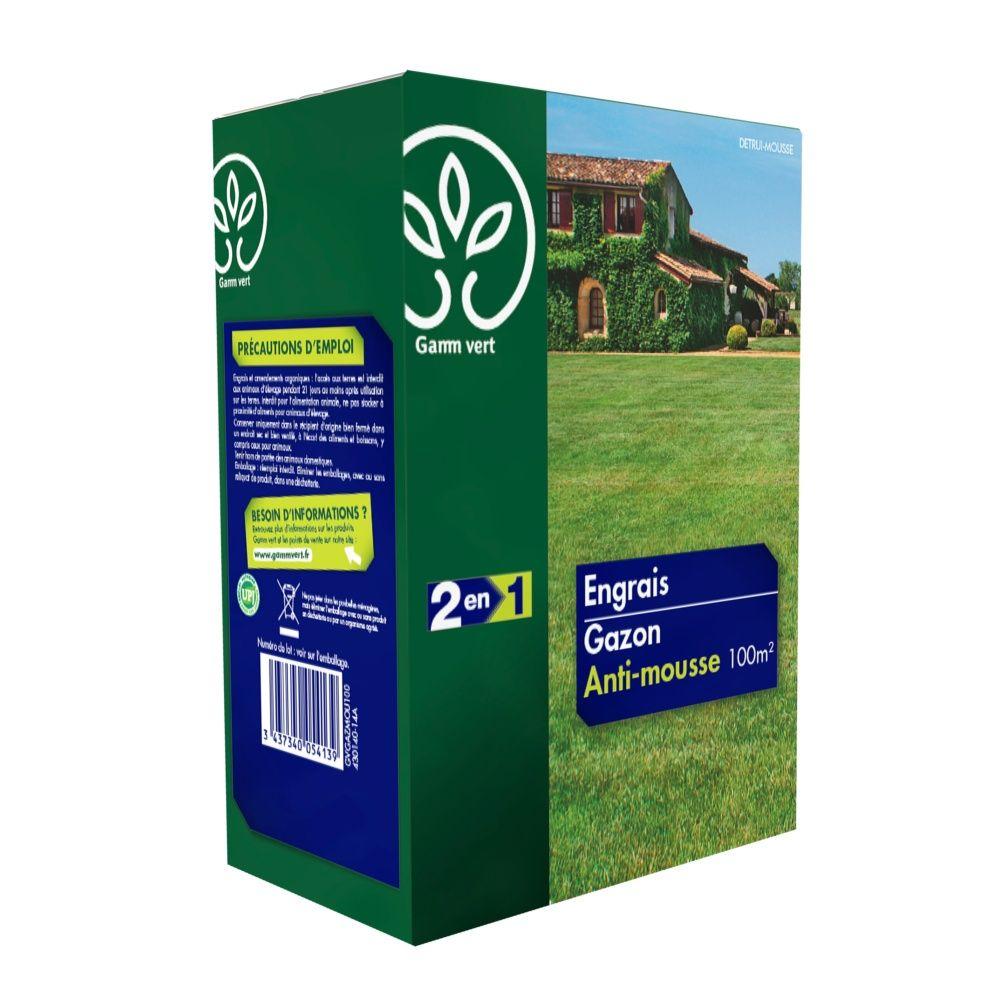 engrais 2 en 1 gazon anti mousse 3 5 kg gamm vert boite. Black Bedroom Furniture Sets. Home Design Ideas