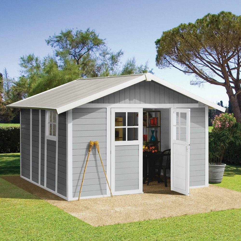 Abri de jardin résine Grosfillex 11,2 m² Ep. 26 mm Deco gris Colis ...