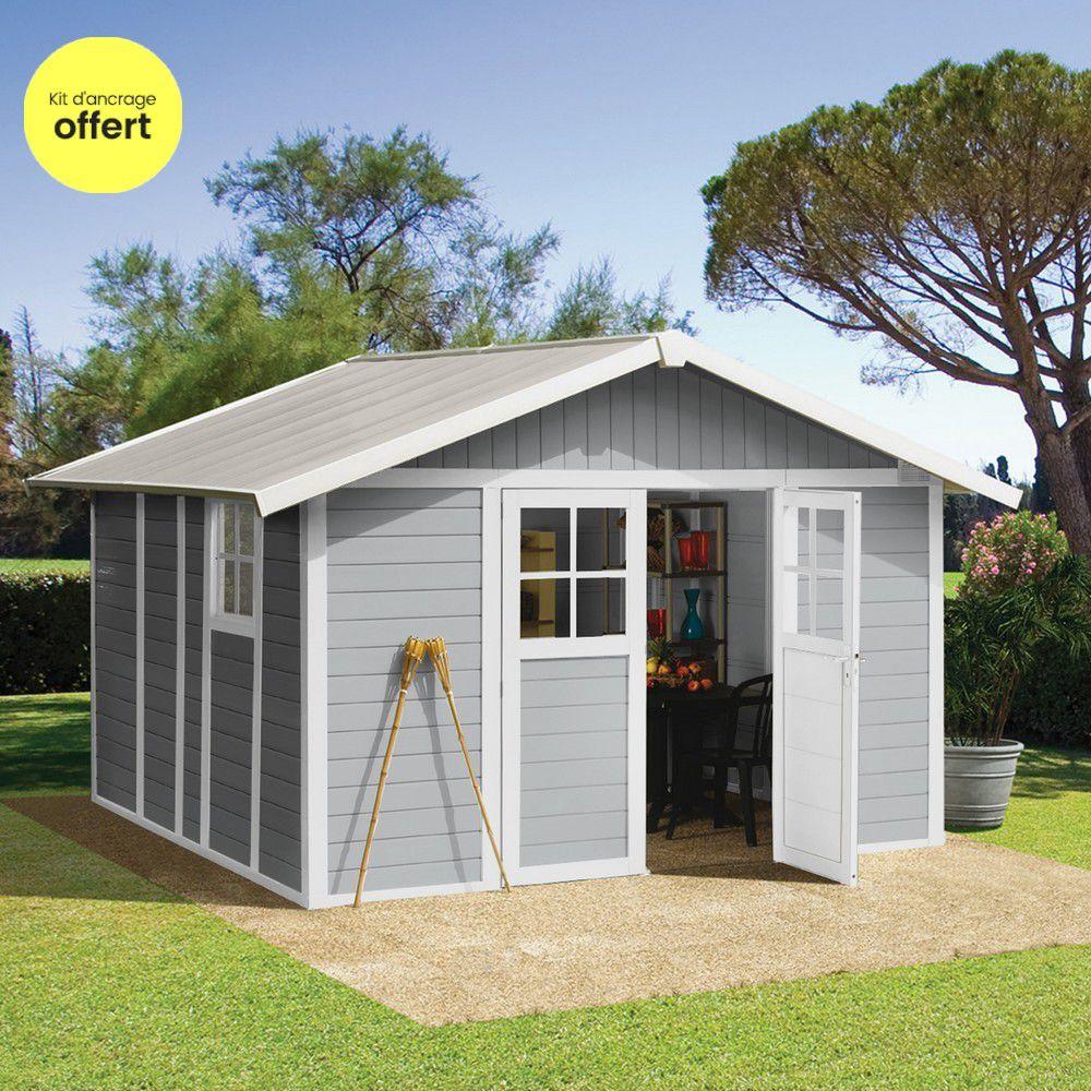 Abri de jardin résine Grosfillex 11,2 m² Ep. 26 mm Deco gris + Kit d ...