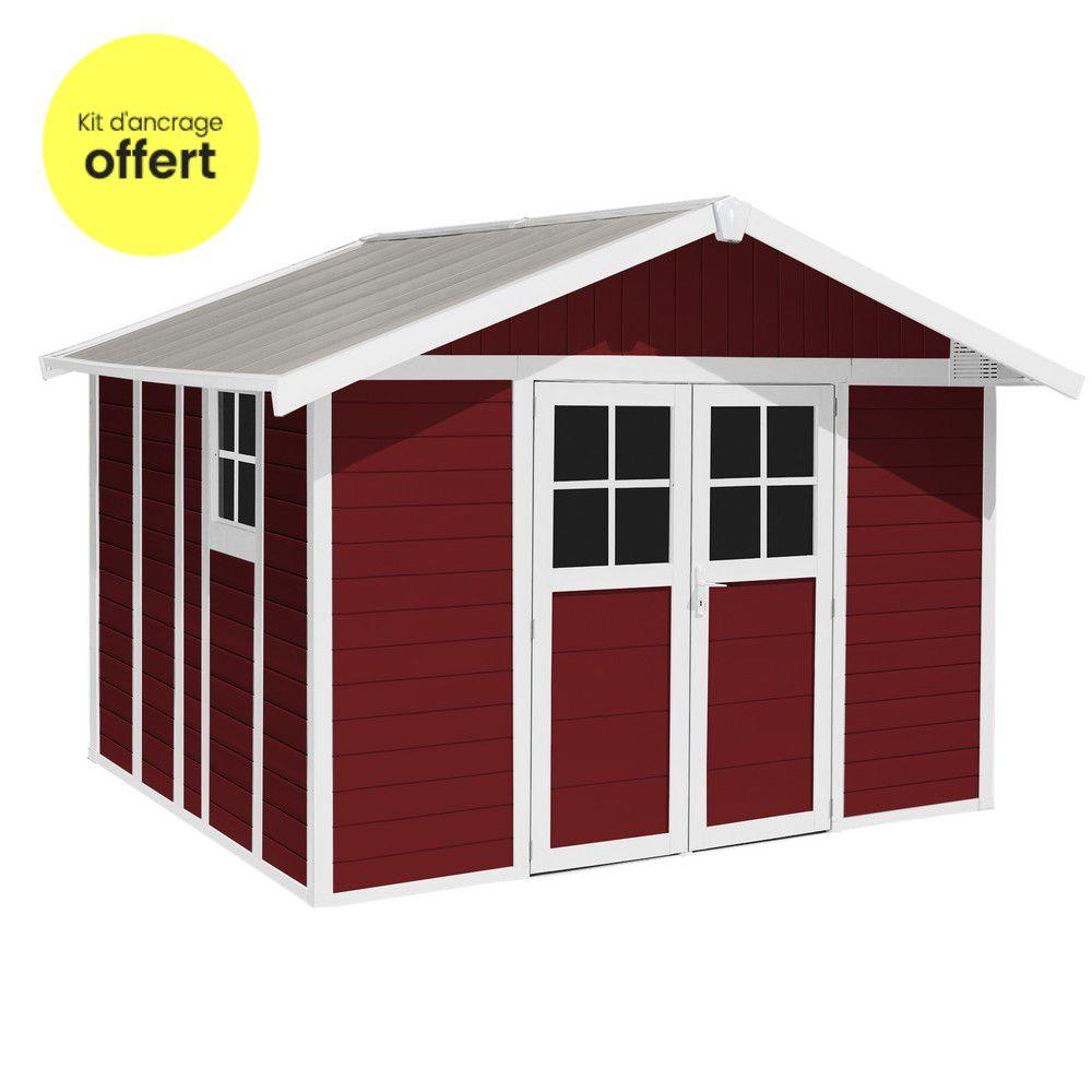 Abri de jardin résine Grosfillex 11.2 m² Ep. 26 mm Deco rouge + Kit ...