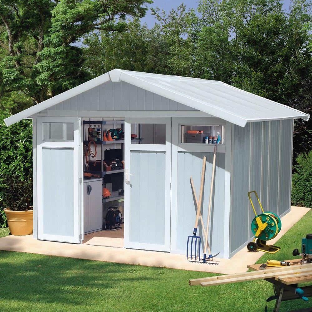 Abri de jardin résine Grosfillex 11,2 m² Utility gris/bleu