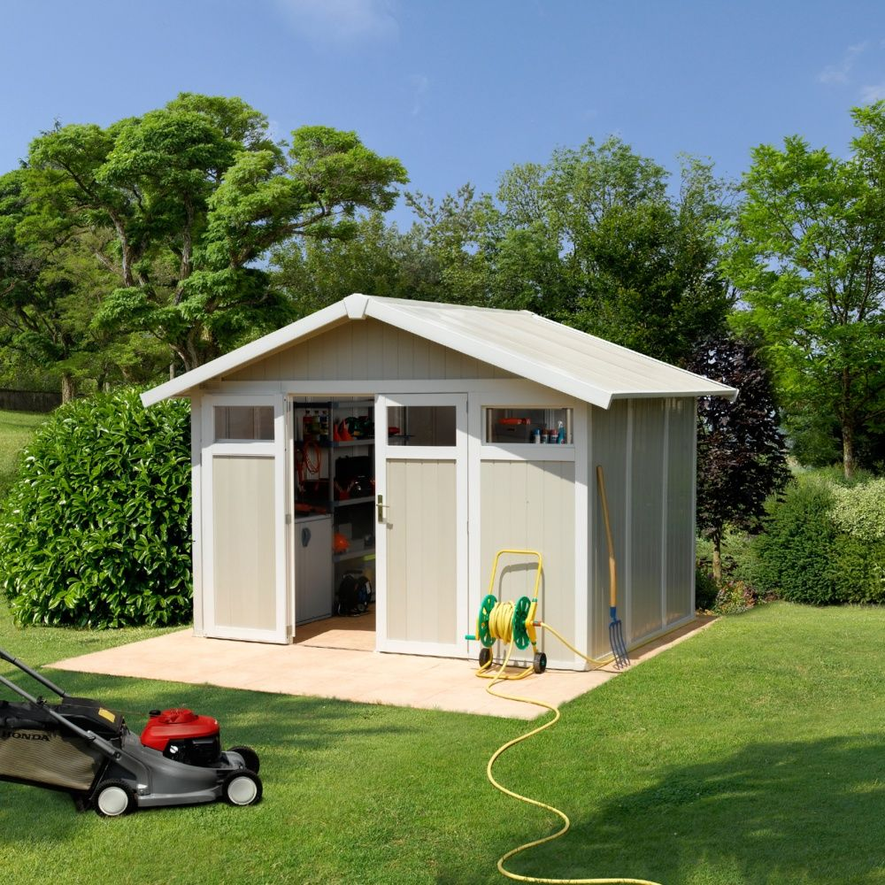 Abri de jardin résine Grosfillex 7,53 m² Ep. 26 mm Utility gris/vert ...