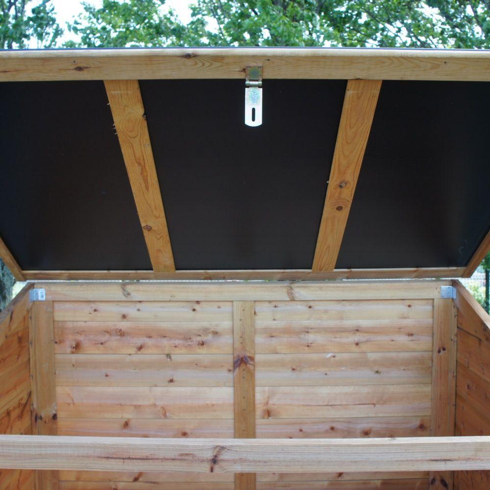 Coffre de jardin bois traité Trocadéro 1200L Colis : L.161 x l.121 x ...