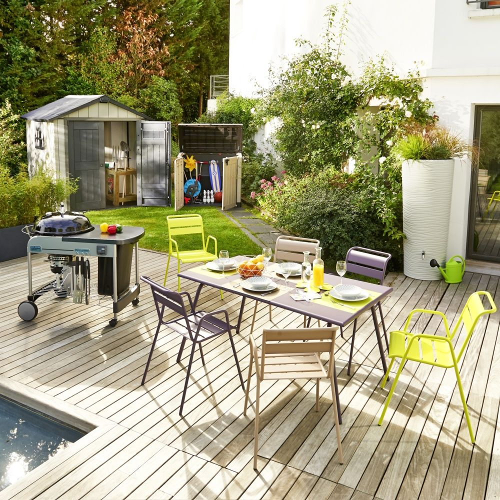 Salon de jardin Fermob Monceau : Table l146 L80cm + 6 chaises 1 ...