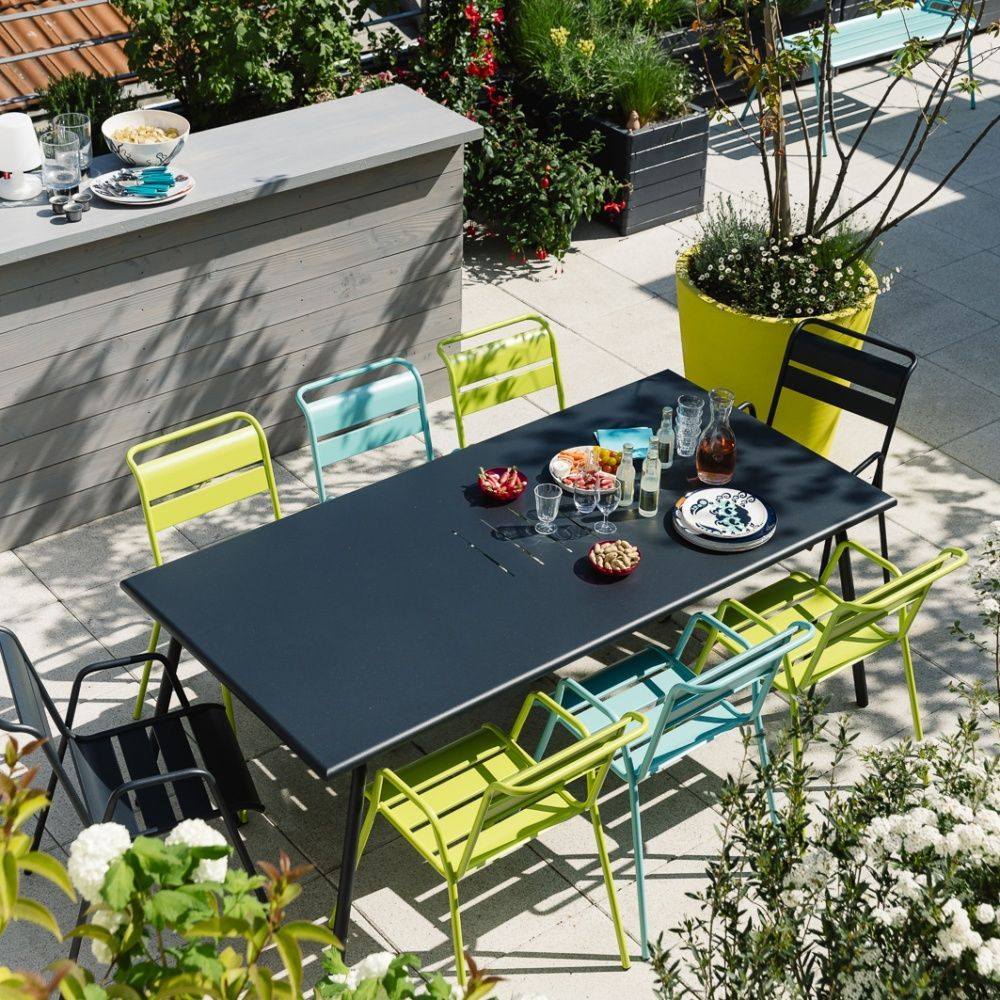 Salon de jardin Fermob Monceau : Table l194 L94cm + 8 chaises