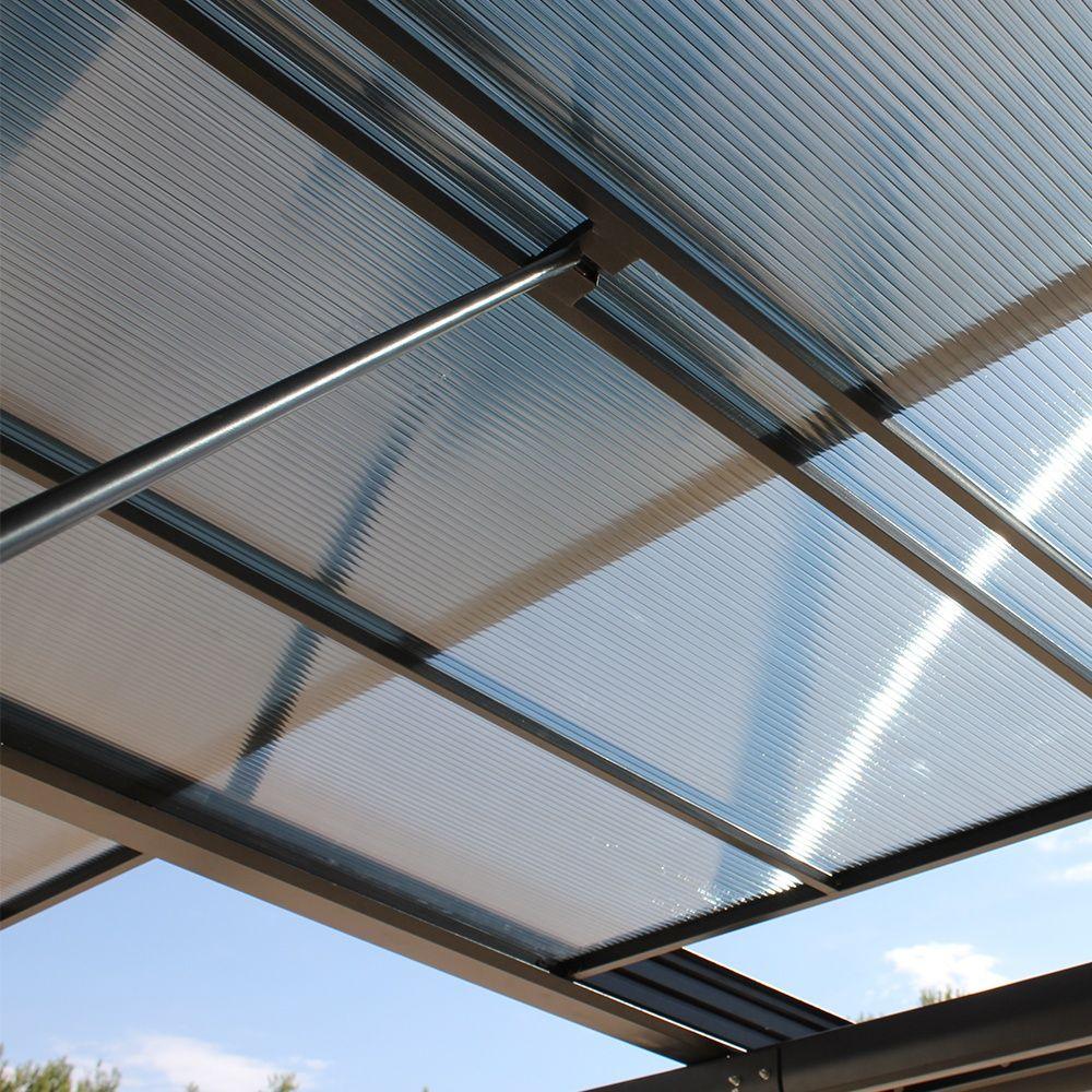 Tonnelle Adossée Aluminium Toit Polycarbonate 4x3 5m Azura