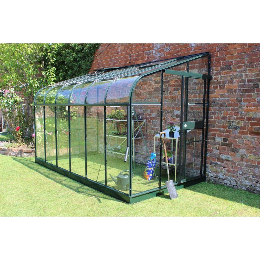 Serre de jardin - Embase pour serre adossée en verre trempé Silverline vert 7.5 m² - Halls - Serre de jardin GammVert