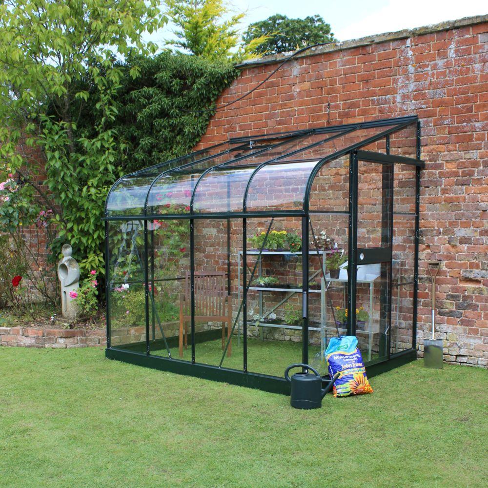 Embase pour serre adossée en verre trempé Silverline vert 5 m² - Halls