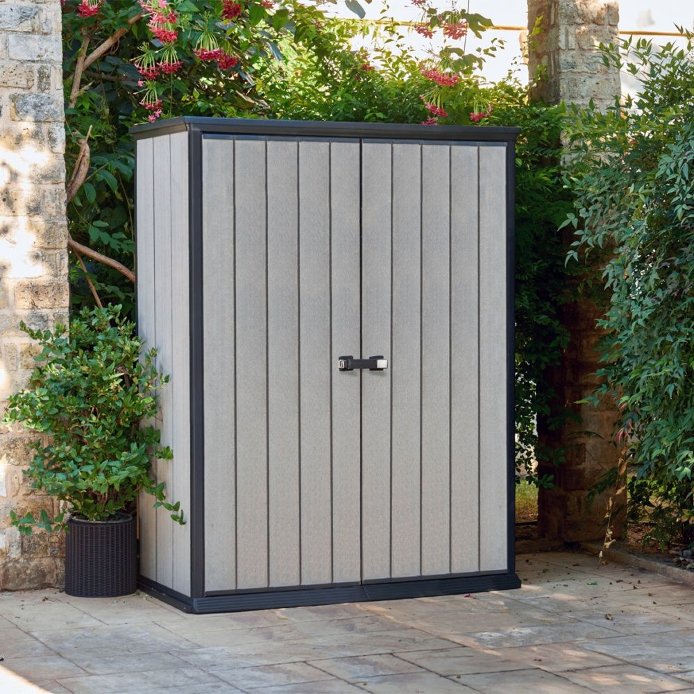 armoire de jardin r sine keter brossium l139 5 h181 5 cm gris colis l186 x p75 6 x h21 2 cm. Black Bedroom Furniture Sets. Home Design Ideas