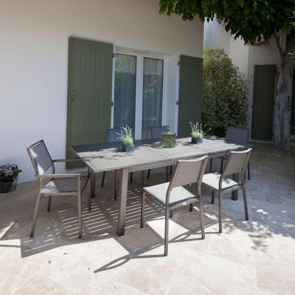 Table de jardin Trieste aluminium l180/240 L100 cm argent 188 x 108 ...