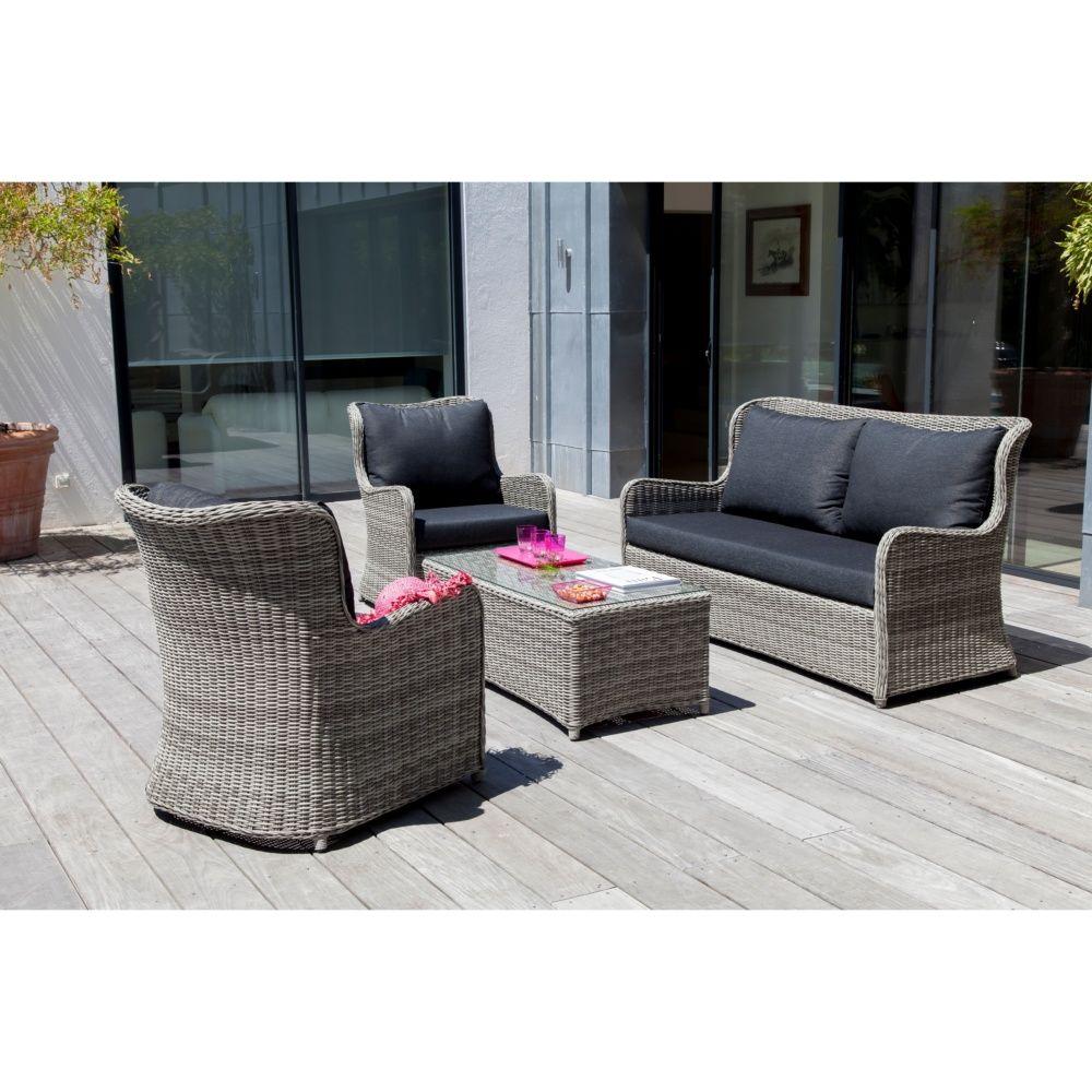 Salon de jardin bas Denver gris 2 fauteuils + canapé + table